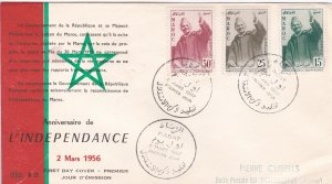 Morocco Northern Zone # 9-11, 1st Anniversary of Independence, First Day Cover