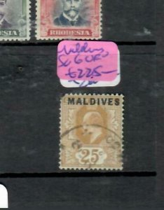 MALDIVE ISLANDS  (P2308BB) KE OVPT ON CEYLON 25C  SG 6  VFU