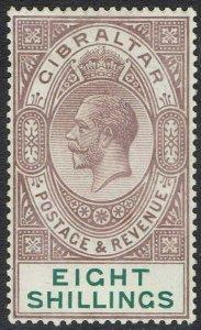 GIBRALTAR 1921 KGV 8/- WMK MULTI SCRIPT CA