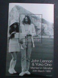 GIBRALTAR-1969-JOHN LENNON  WEDDING MNH S/S EST.$8-VF