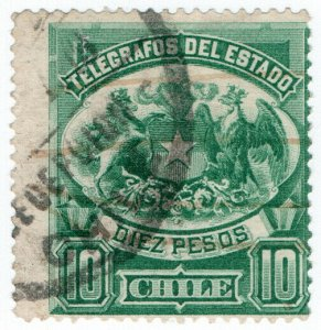 (I.B) Chile Telegraphs : 10P Green (large format)
