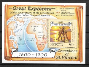 St. Vincent Grenadines MNH S/S 604 Great Explorers Maps