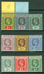 EDW1949SELL : VIRGIN ISLANDS 1913 Scott #38-46 Complete set. VF MOG. Cat $136++