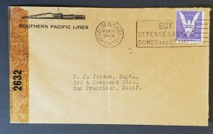 1943 Honolulu Hawaii San Francisco Southern Pacific Lines Censorship WWII Cover