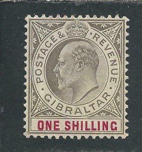 GIBRALTAR 1904-08 1s BLACK & CARMINE CHALKY MM SG 61a CAT £55