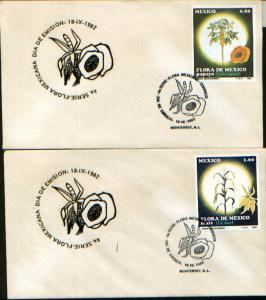 MEXICO 1288-1289, CACHTED FDC Flora of Mexico Papaya and Corn Set of 2. F-VF.