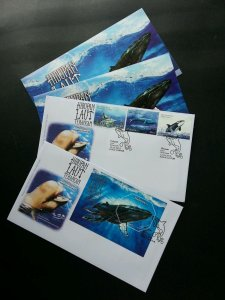 Malaysia Endangered Marine Life 2015 Whale Underwater Sea (FDC pair) silver foil