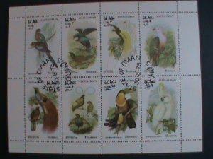 OMAN STAMP 1973 COLORFUL LOVELY WORLD ENDANGER BIRDS-CTO MINI SHEET VERY FINE