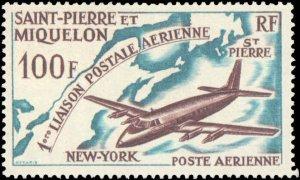 St. Pierre & Miquelon #C28, Complete Set, 1964, Aviation - Airplanes, Hinged