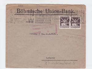 czechoslovakia prague fair 1922 machine cancel   stamp cover ref r16105