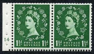 SB28 1 1/2d Green Wmk Edward Booklet Pane of Two Cyl 14 no dot U/M