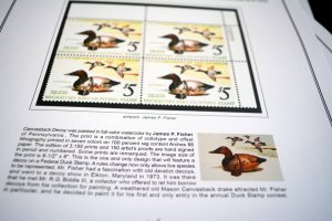COLOR PRINTED USA FED DUCK PLATE BLOCKS 1934-2020 STAMP ALBUM PAGES (91 ill. pg)