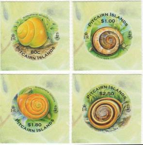 Pitcairn Islands - Snails 4 Stamp  Set PIT1006