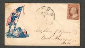 US Patriotic Cover Sc#26 Soldier Flag + Cannon Lynn MA