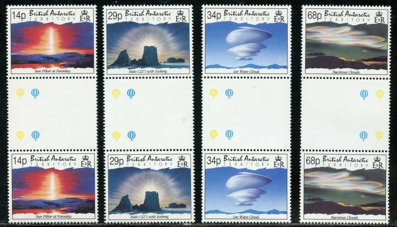 BRITISH ANTARCTIC TERRITORY GUTTER PAIR SET  SCOTT#198/201  MINT NH-SCOTT $19.20