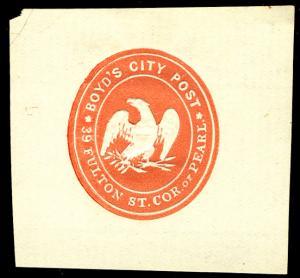 US #LOCAL 20LU1 SCV $175.00 VF mint hinged , cut square, Boyd's City, SCV $17...