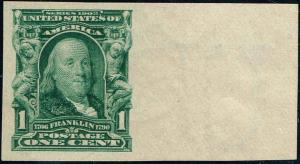 #314 RIGHT SIDE MARGIN 1906 1 CENT FRANKLIN IMPERF ISSUE MINT-OG/NH--VF/XF