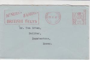 England 1940 McNeills Famous British Felts Dorking Meter Mail Cover Ref 31831