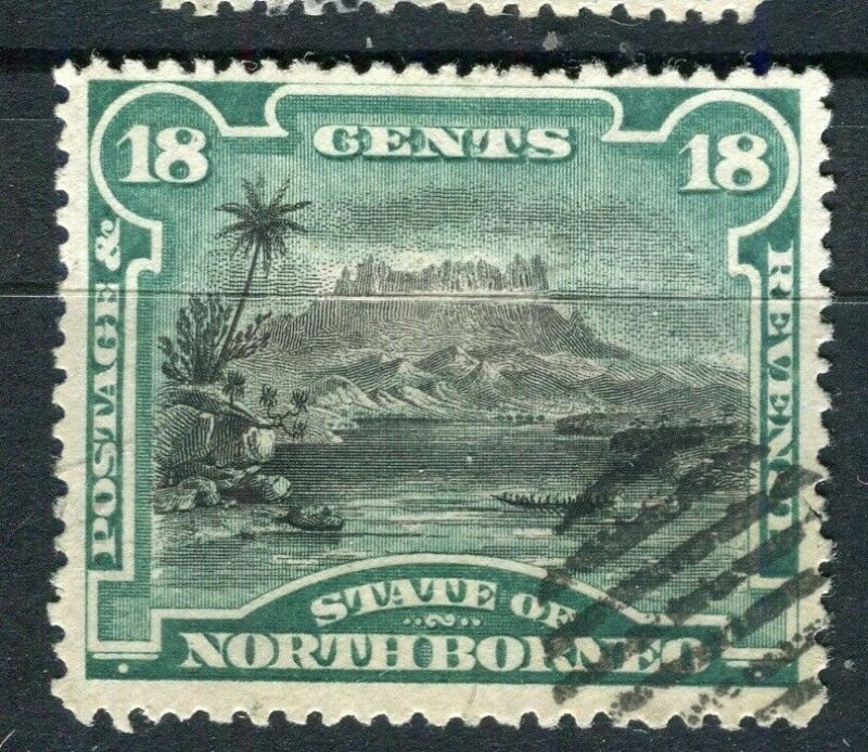 NORTH BORNEO; 1894 early pictorial issue fine used 18c. value