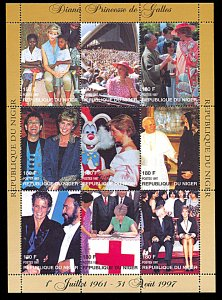 Niger 944, MNH, Princess Diana In Memoriam miniature sheet