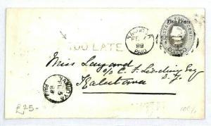CEYLON Colombo Namuoya Postal Stationery Overprint TOO LATE {samwells} 1888 CW40