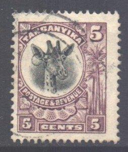 Tanganyika Scott 10 - SG74, 1922 Giraffe 5c used