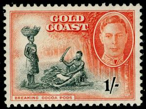 GOLD COAST SG143, 1s black & vermilion, M MINT.