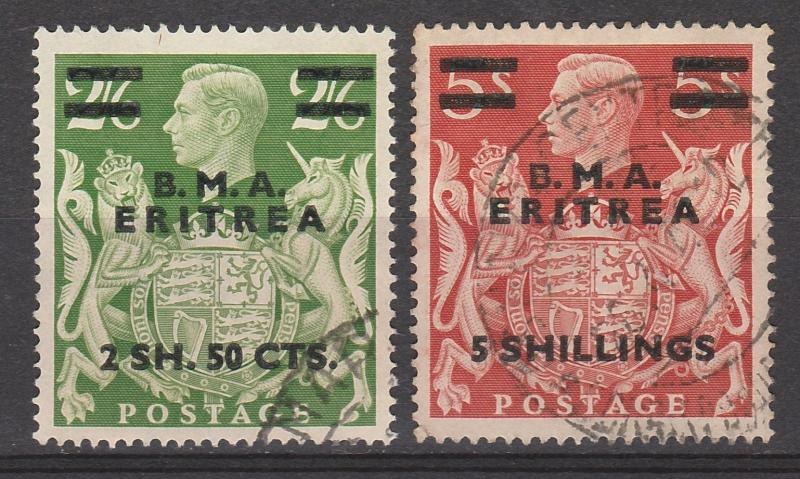 BRITISH OCCUPATION ITALIAN COLONIES 1948 BMA ERITREA  KGVI 2.50S AND 5S USED