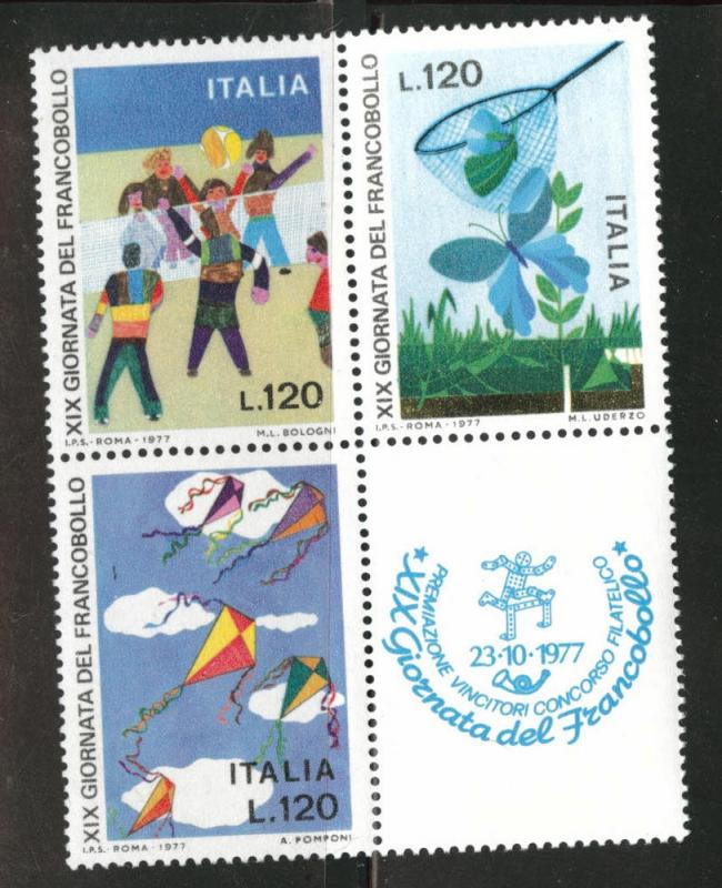 Italy Scott 1282a MNH** 1977 children's drawings block of 3