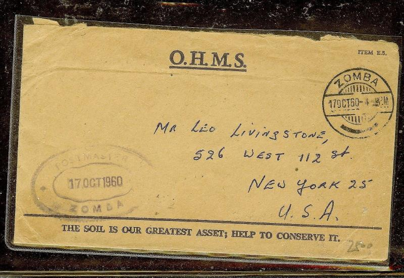 NYASALAND (P1110B) 1960 OHMS STAMPLESS TO USA