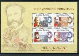 Sierra Leone Red Cross Stamps 2010 MNH Henri Dunant Charles Dickens 4v M/S
