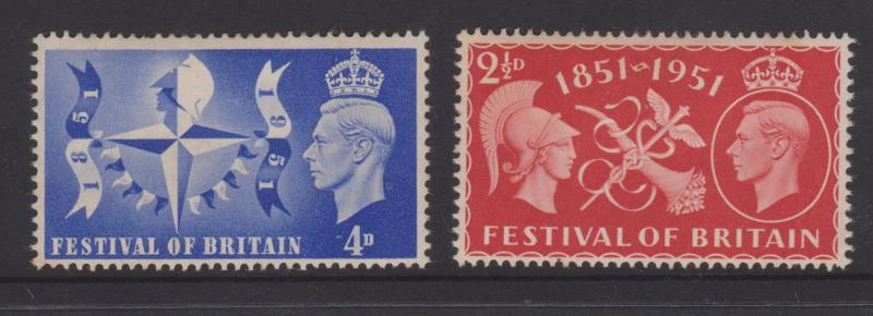 Great Britain 1951 Festival of Britain Sc#290-291 VF Mint