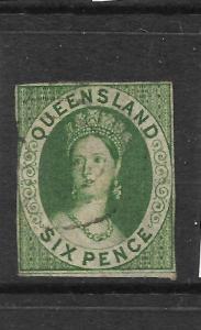 QUEENSLAND 1860  6d  GREEN   QV  IMPERF   FU    SG 3