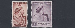 TURKS & CAICOS    1948 - 49  ROYAL SILVER WEDDING  MH
