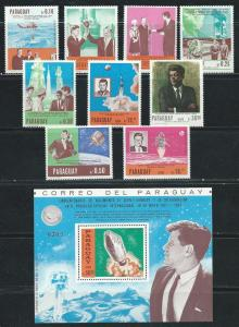 Paraguay 1041-50 1967 Kennedy set and s.s. MNH