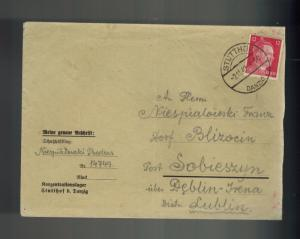 1942 Germany Danzig Stutthof Concentration Camp KZ Cover to Lublin