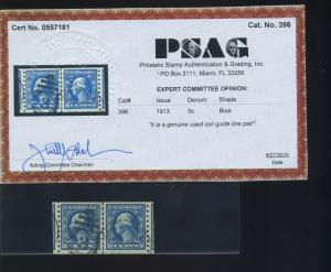 Scott #396 Washington Rare Used Coil Line Pair of 2 Stamps with PSAG Cert!!