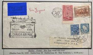 1939 Shediac Canada First Official Flight Cover To Usa Via Foynes Ireland