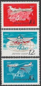 RUSSIA USSR 1963 AEROFLOT Anniversary Airmail Set Sc C101-C103 MNH