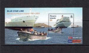 Pitcairn Island: 2003, 21st Anniversary of Blue Star Shipping, Service, M/S, MNH