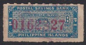 PHILIPPINES 1 peso Postal Savings Bank stamp................................E247