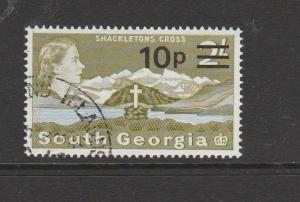 South Georgia 1971 Opts 10p on 2/- FU SG 28