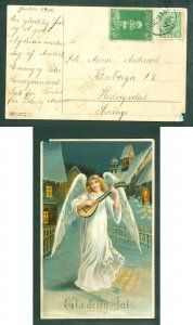 Denmark. Christmas Card 1915. 5 Ore,Tollose. National Colors Decoration. Vincent