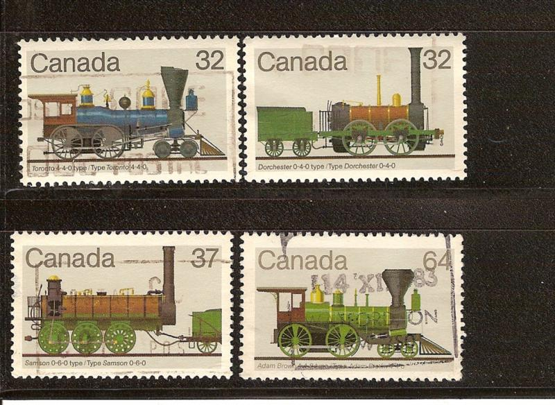 CANADIAN SET OF LOCOMOTIVES (4) USED STAMPS  LOT#174