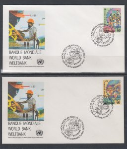 UN Vienna 88-89 Bank UN Postal Administration U/A Set of Two FDC