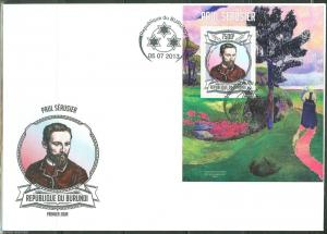 BURUNDI 2013  PAUL SERUSIER  SOUVENIR SHEET FIRST DAY COVER