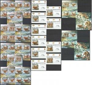 BU52 IMPERF,PERF 2012 BURUNDI FAUNA WILD CATS LIONS ANIMALS !!! 12BL+12KB MNH
