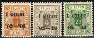 Iceland #O20-1, O24  F-VF Unused CV $3.50 (X2175)
