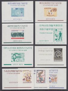 Korea Sc 321a-329a MNH. 1961 imperf souvenir sheets, run of 9 different, VF.