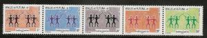 Wallis and Futuna Islands 602 2005 Warriors strip of 5 NH